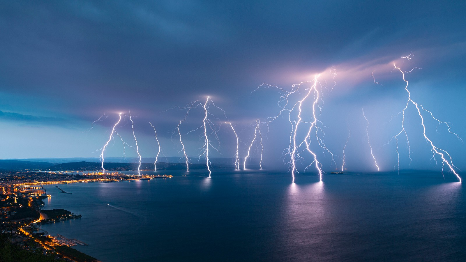 lightning storm over water