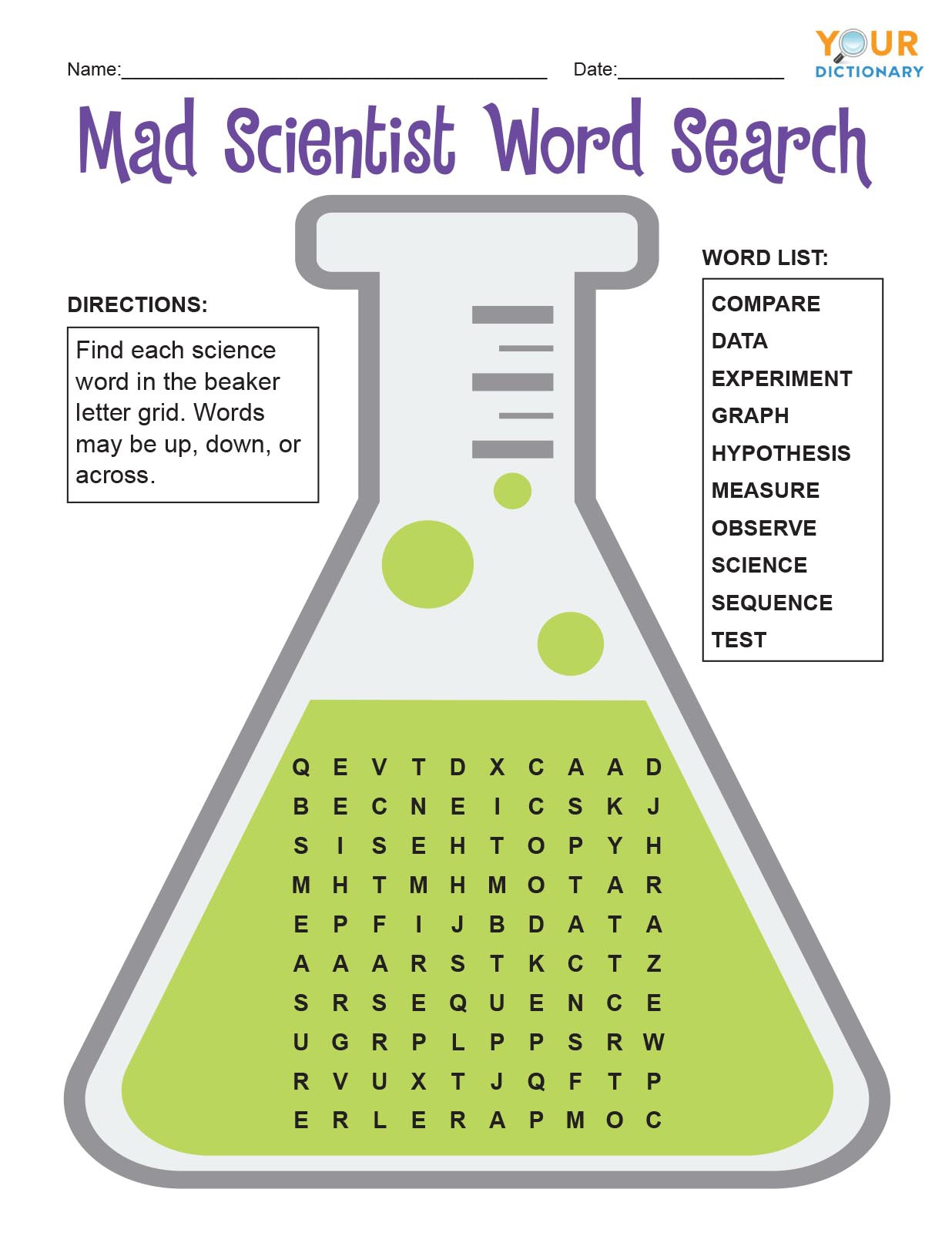 Mad Scientist Word Search