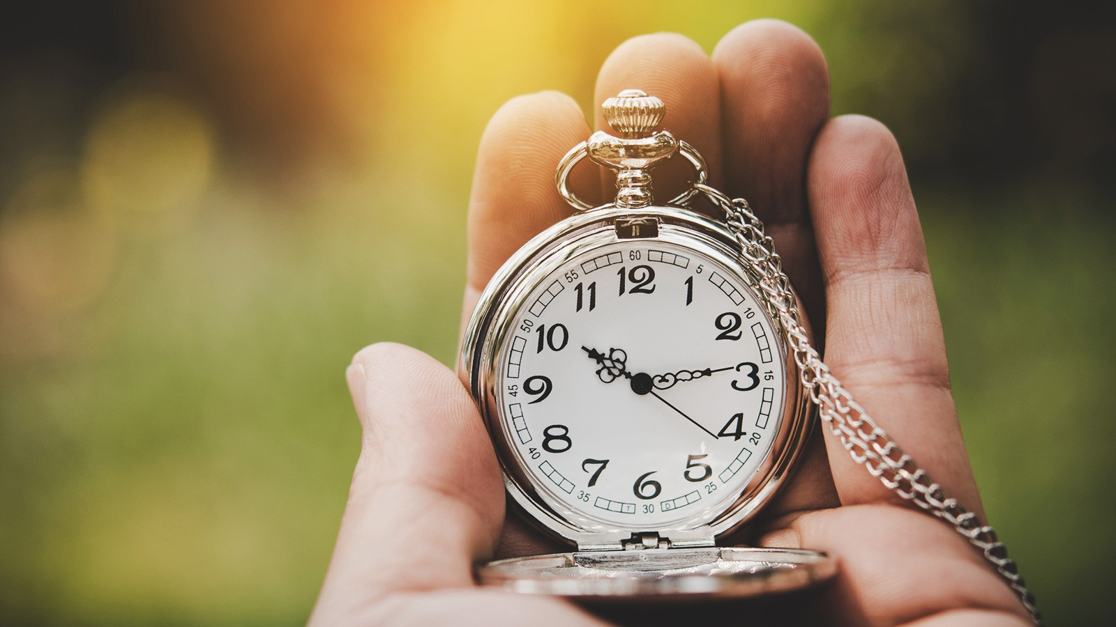 Hand holding a pocket watch