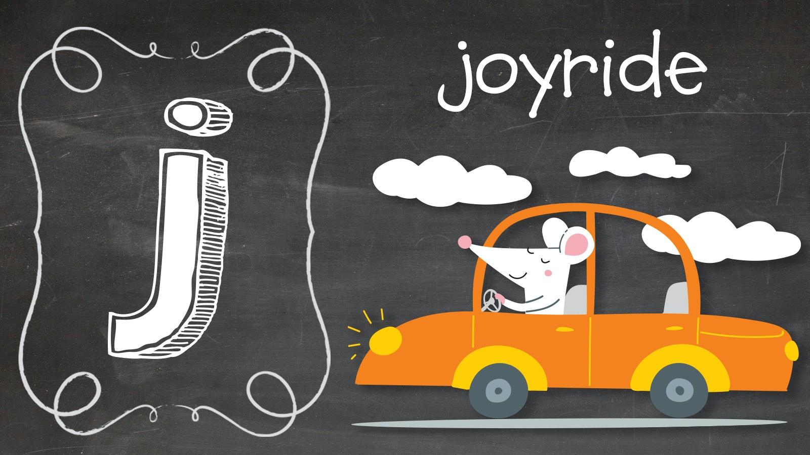 Positive J word Joyride mouse in car