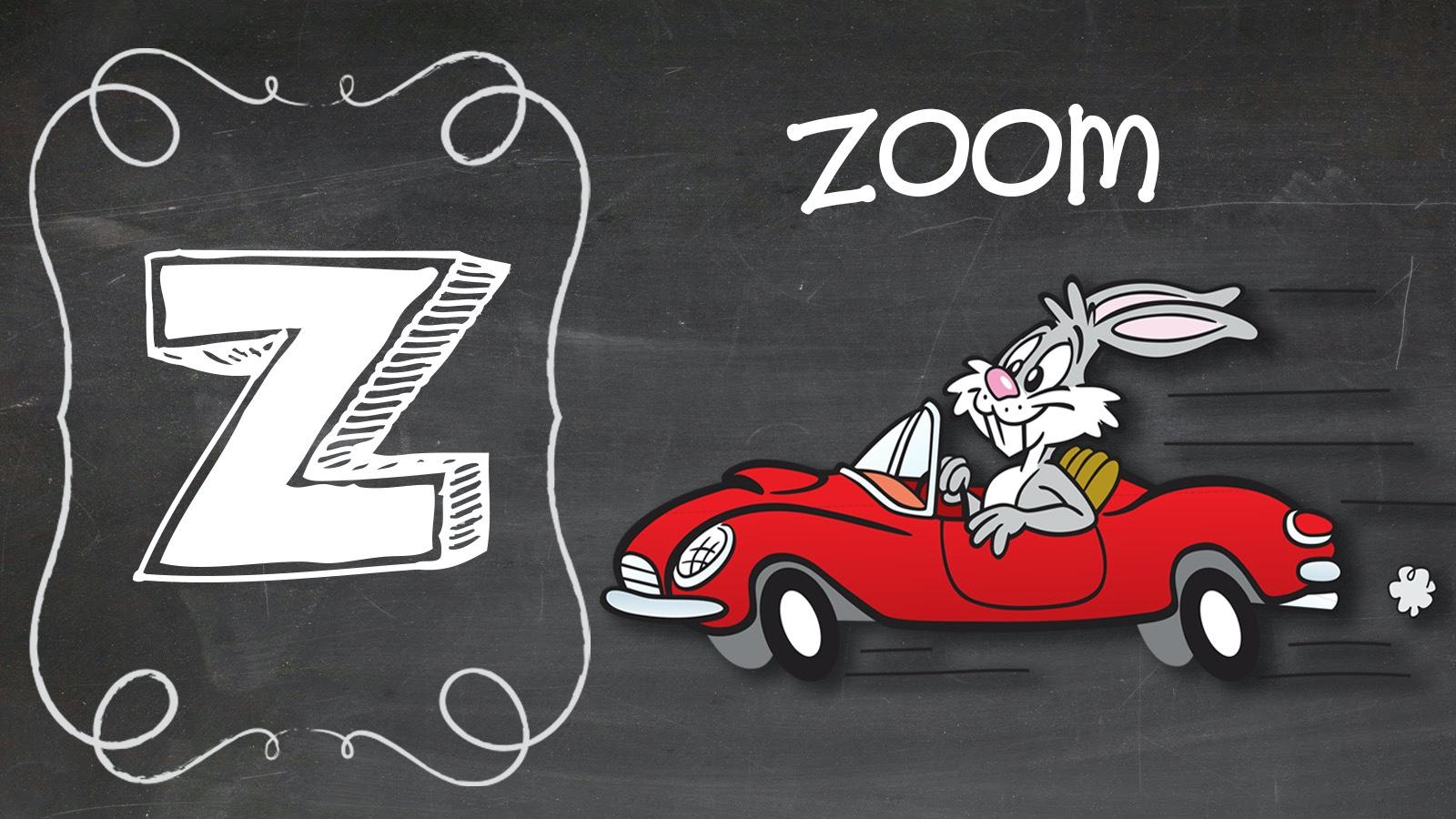 Positive Word Z zoom rabbit race car