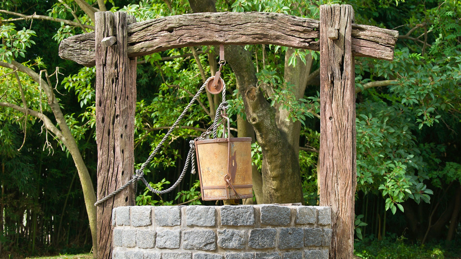 Simple machine pulley well