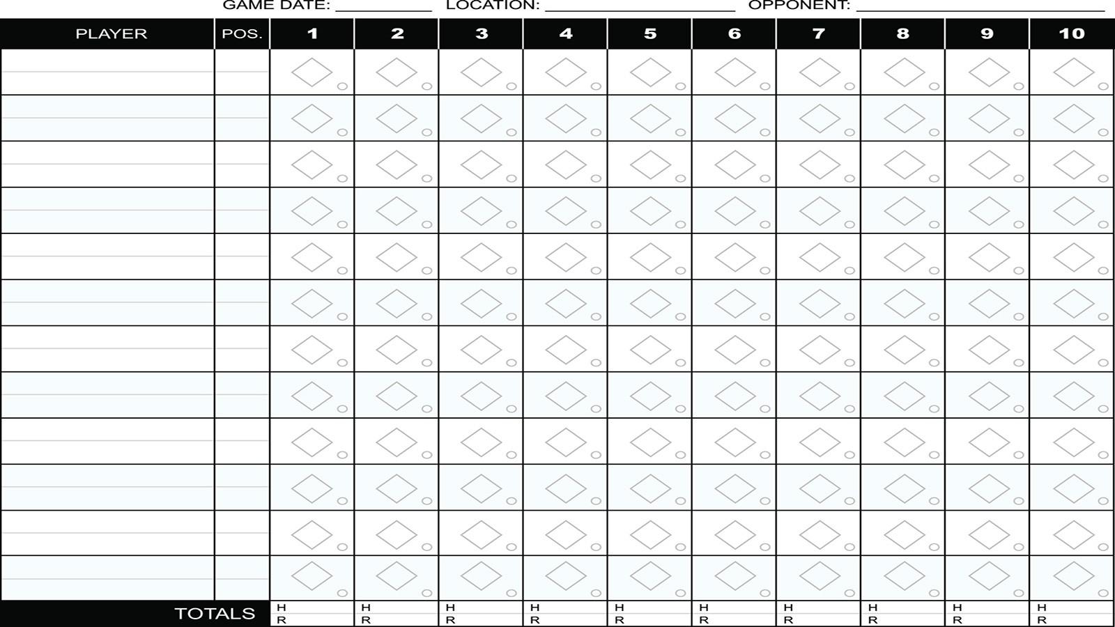 Baseball scorecard example