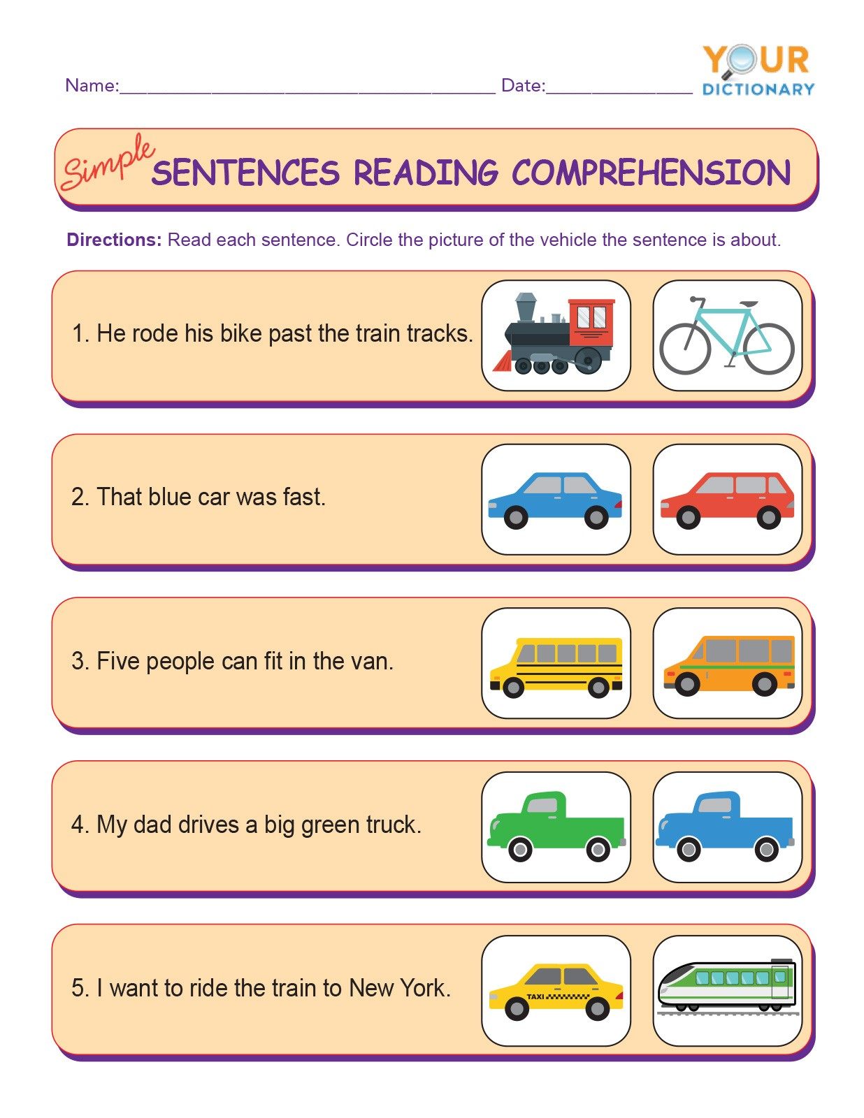 simple sentences reading comprehension