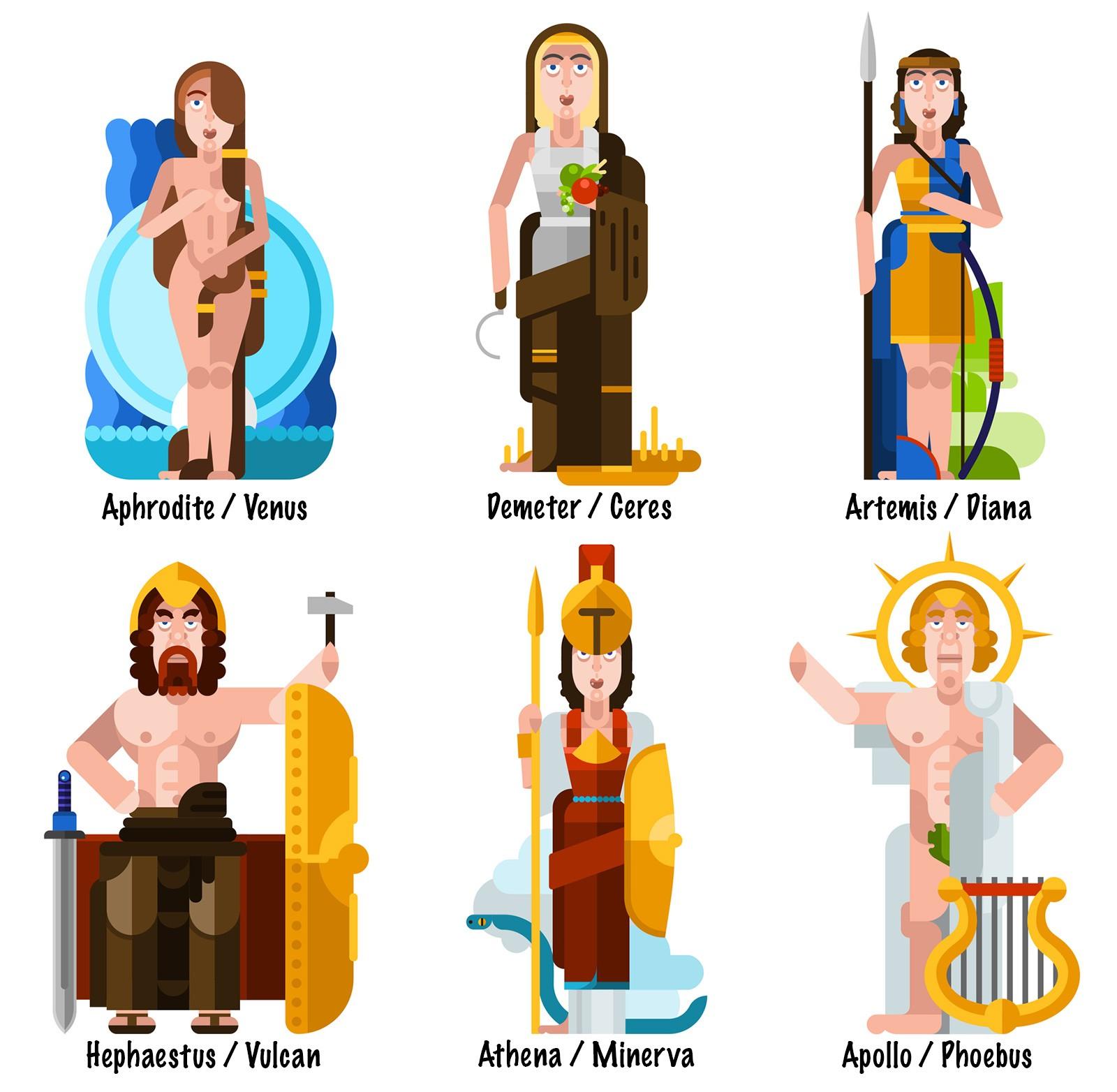 six illustrations of greek and roman gods