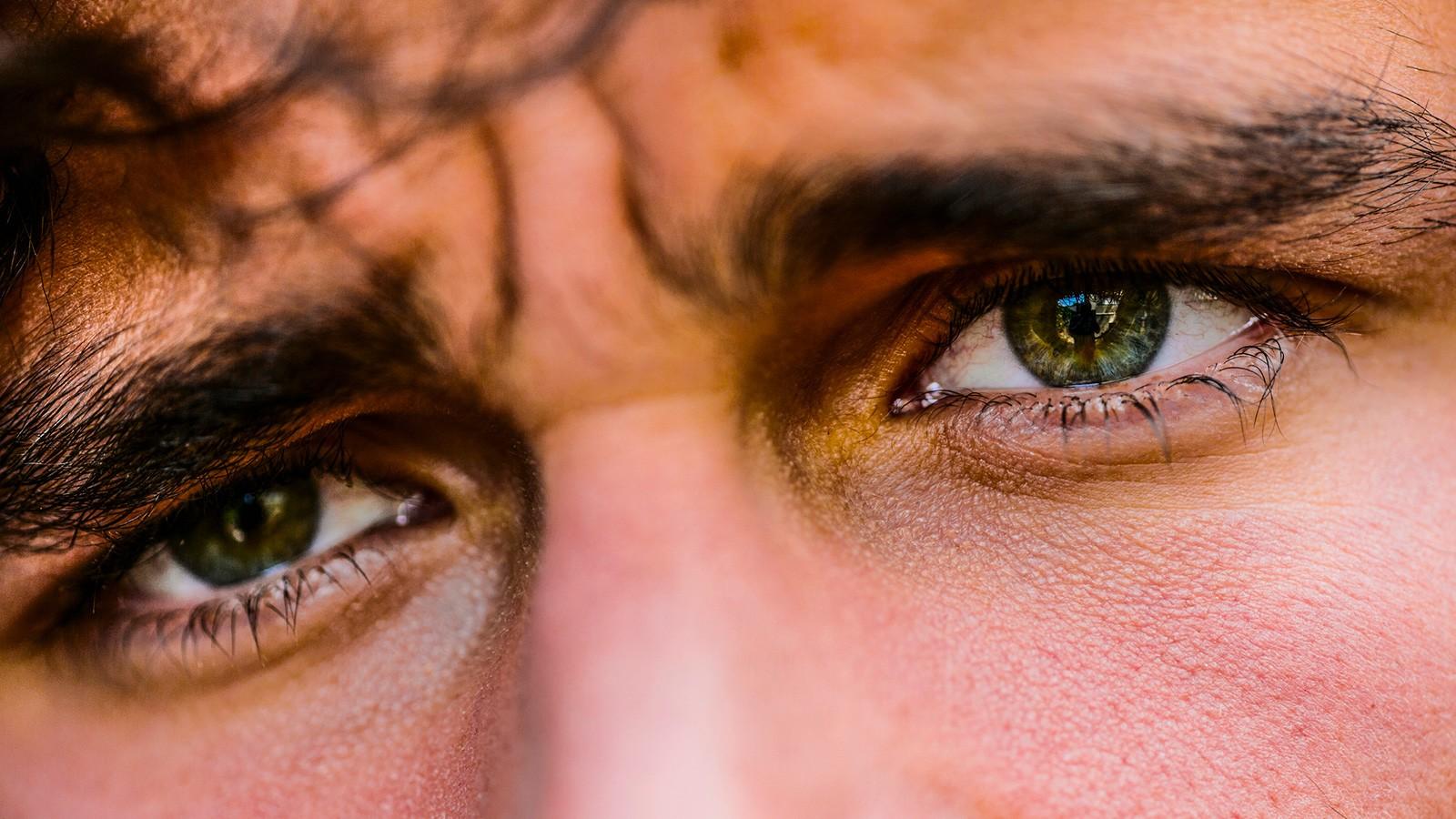 striking eyes of a man