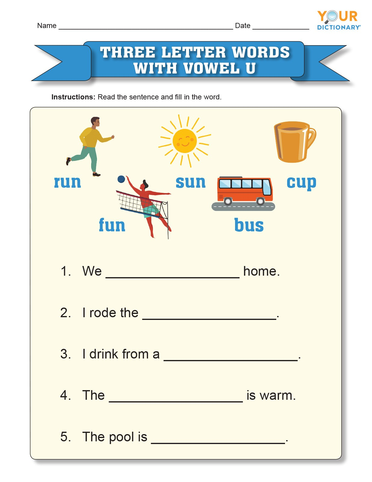 three letter words with vowel u