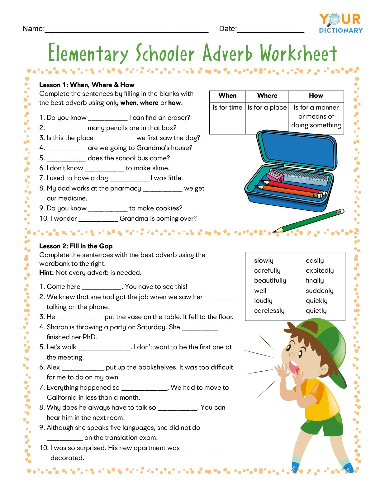 - Adverb Worksheets For Elementary And Middle School