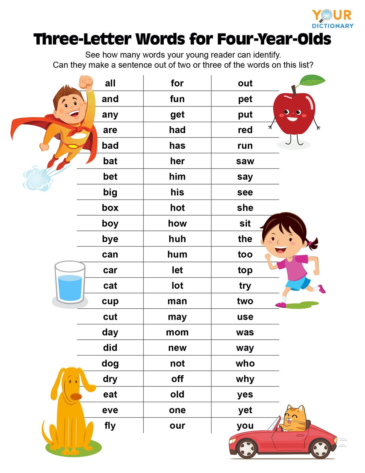 4 Letter Words Worksheets For Kindergarten
