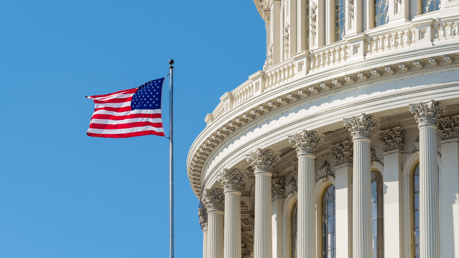US capital building and flag