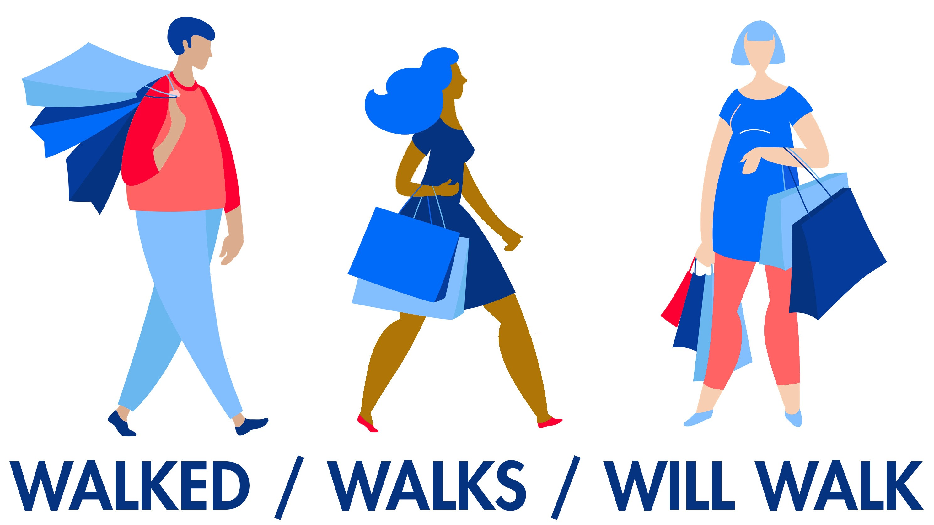verb tenses of walk example