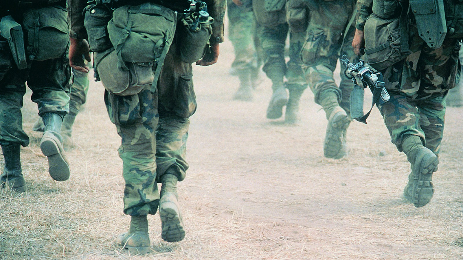 war soldiers marching in desert