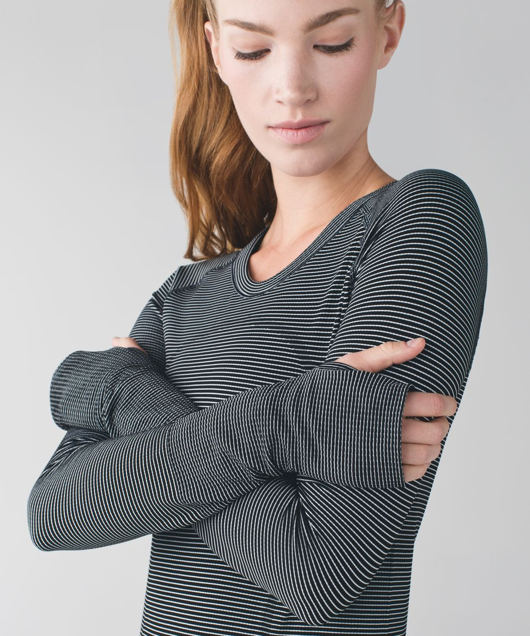 Lululemon Swiftly Tech Long Sleeve Crew - Tempo Stripe Black White