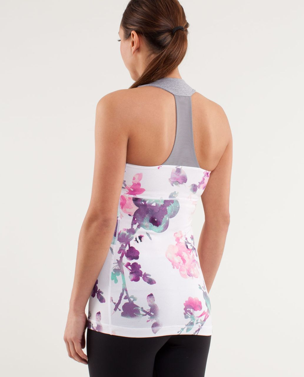 Lululemon Scoop Neck Tank - Blurred Blossoms White  /  Heathered Fossil