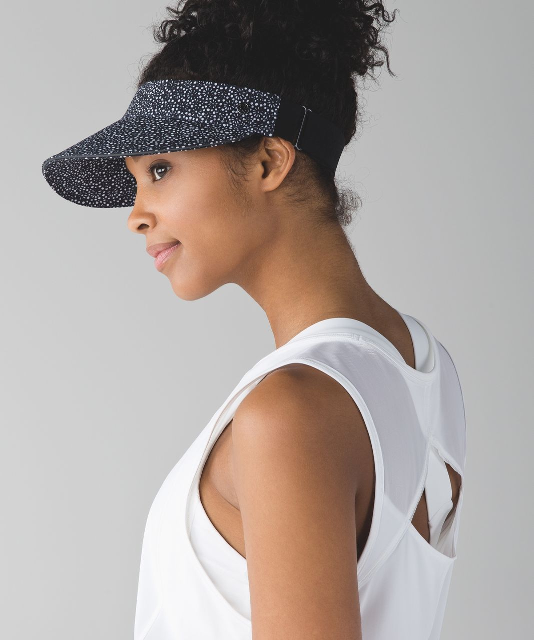 Lululemon Fast Paced Run Visor - Freckle Flower Black White / Black