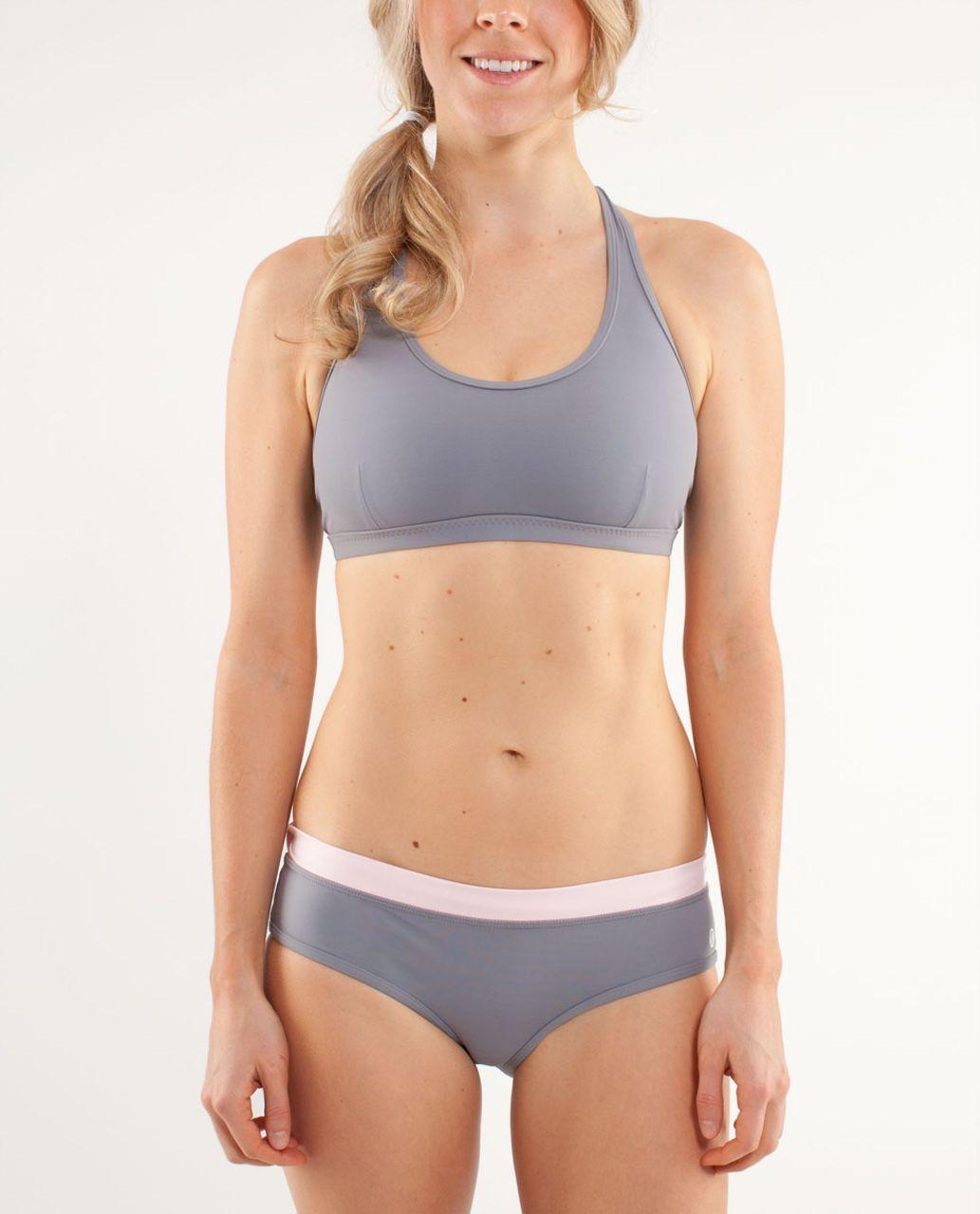 Lululemon Heatwave Swim Racer Top - Fossil /  Wee Stripe White Blush Quartz