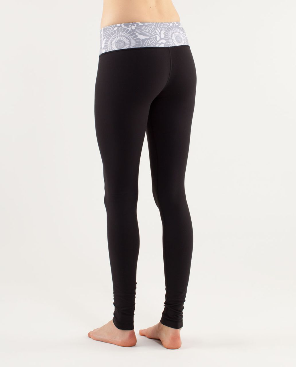 Lululemon Wunder Under Pant - Black /  Beachy Floral White Fossil /  Fossil