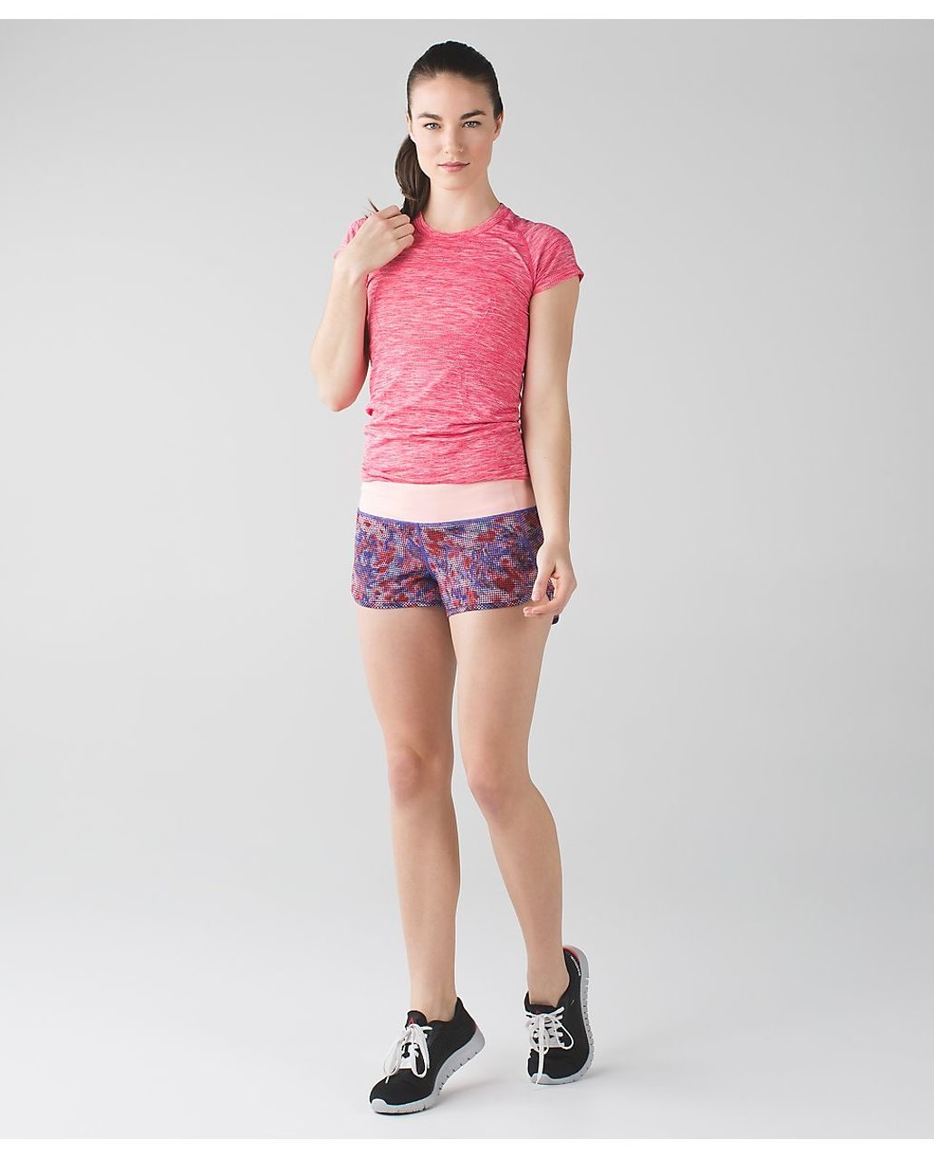 Lululemon Speed Short - Checker Blooms Multi / Minty Pink