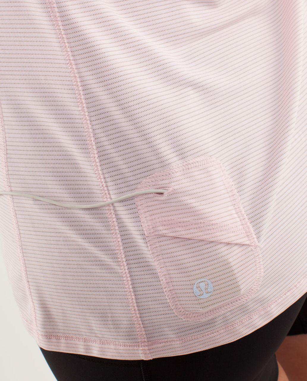 Lululemon Run:  Silver Bullet Sleeveless Tech - Blush Quartz /  Cut-out Lace Reflective Print
