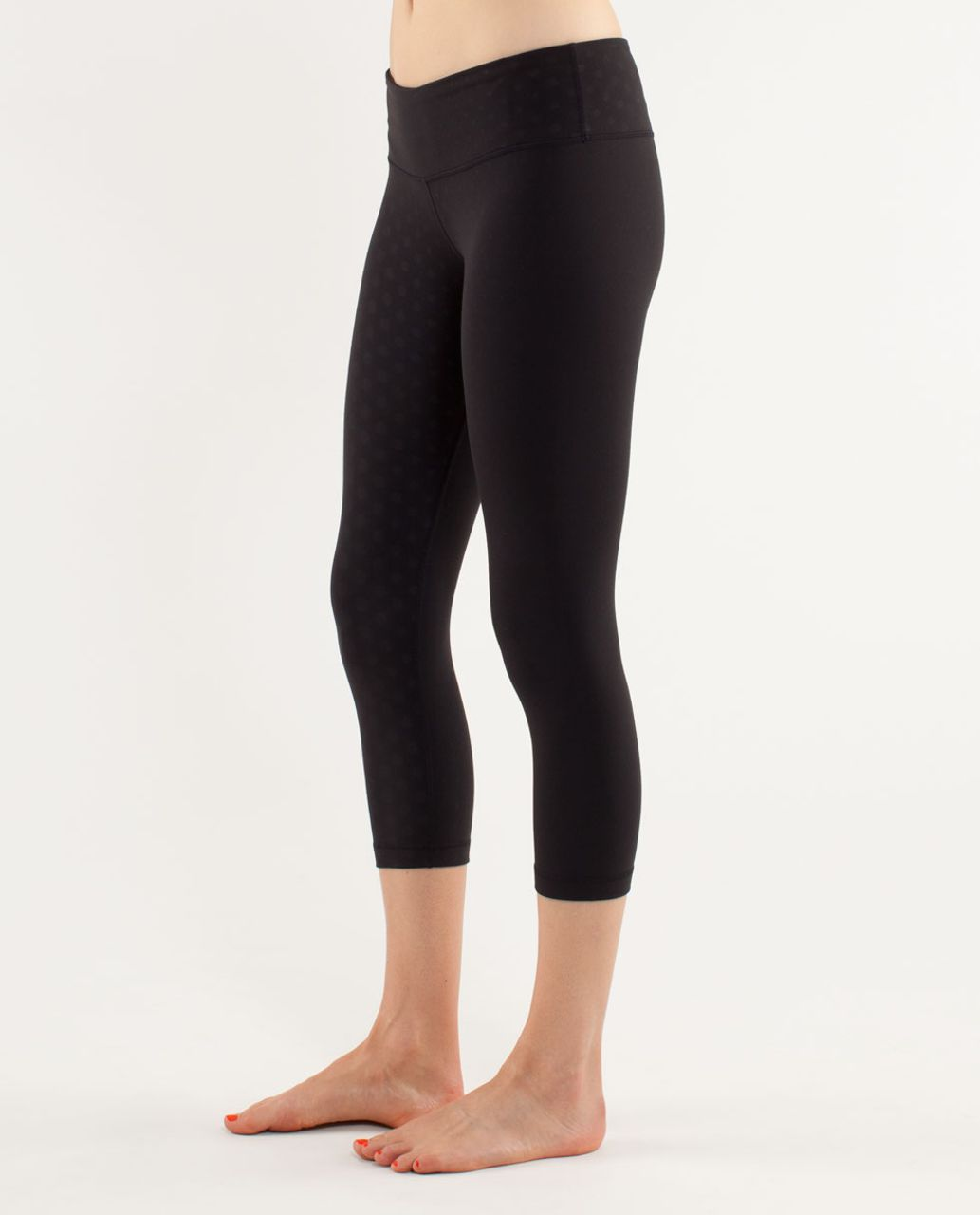 Lululemon Wunder Under Crop *Embossed - Faded Dot Embossed Black
