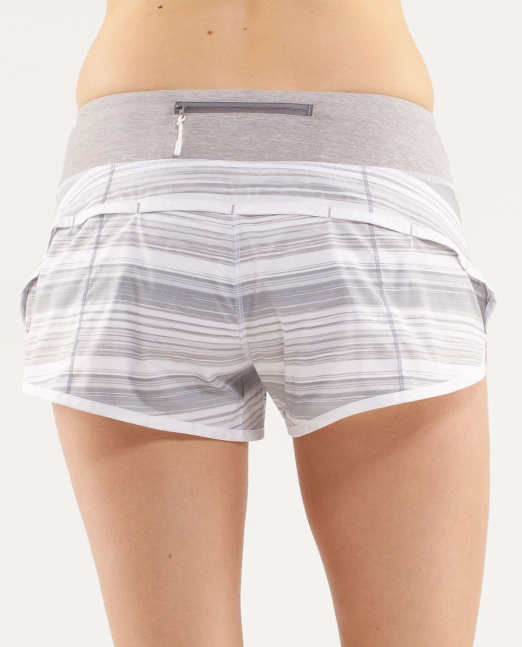Lululemon Run:  Speed Short - Twisted Stripe Fossil / White / Metallic Silver