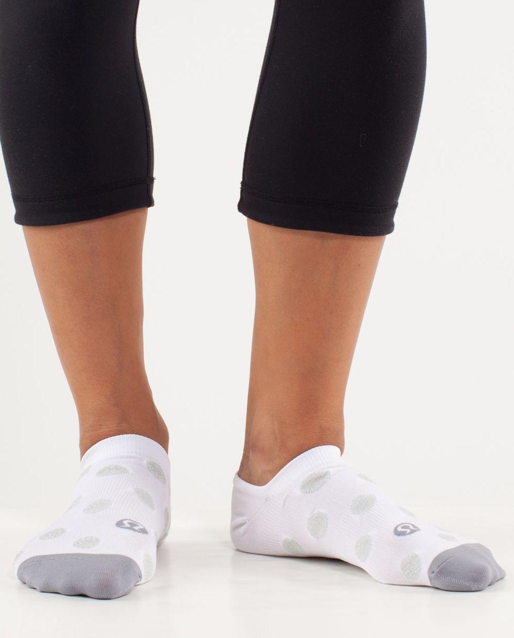 Lululemon Women's Featherweight Sock - White Kdk Dot / Fossil