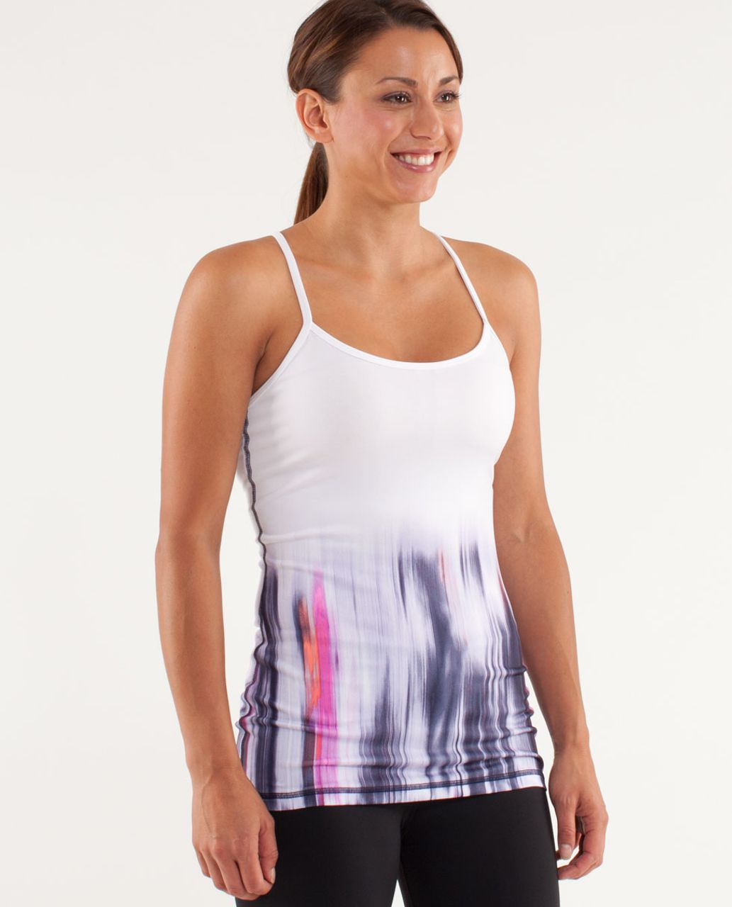 Lululemon Power Y Tank *Luon Light - Engineered Mirage Deep Indigo / White
