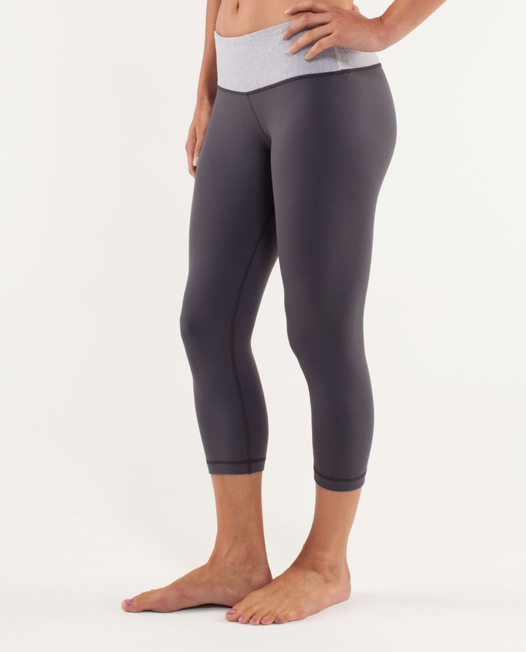 Lululemon Wunder Under Crop *Reversible - Coal / Wee Stripe White / Static Coal