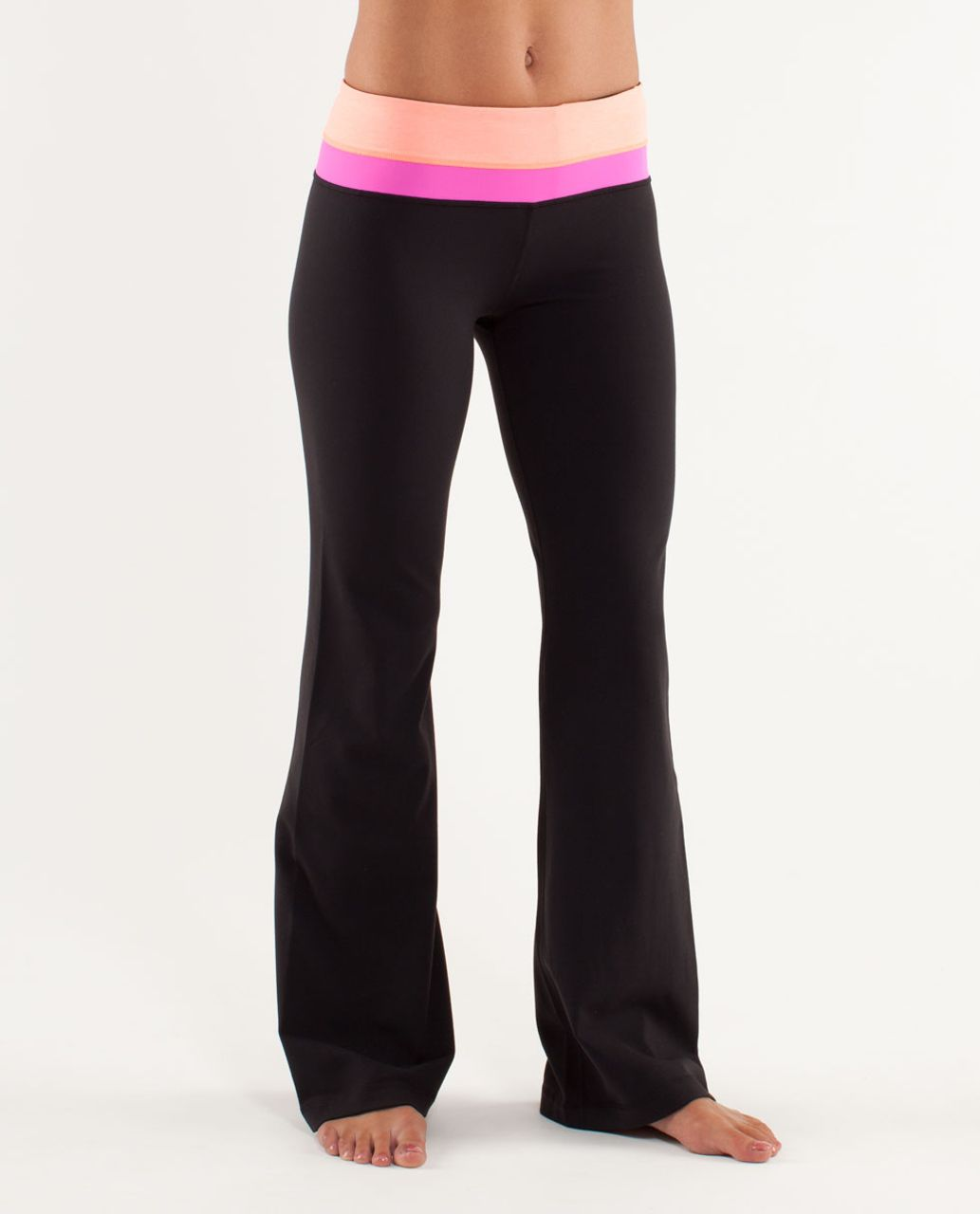 Lululemon Groove Pant (Regular) - Black / Heathered Pop Orange / Pow Pink