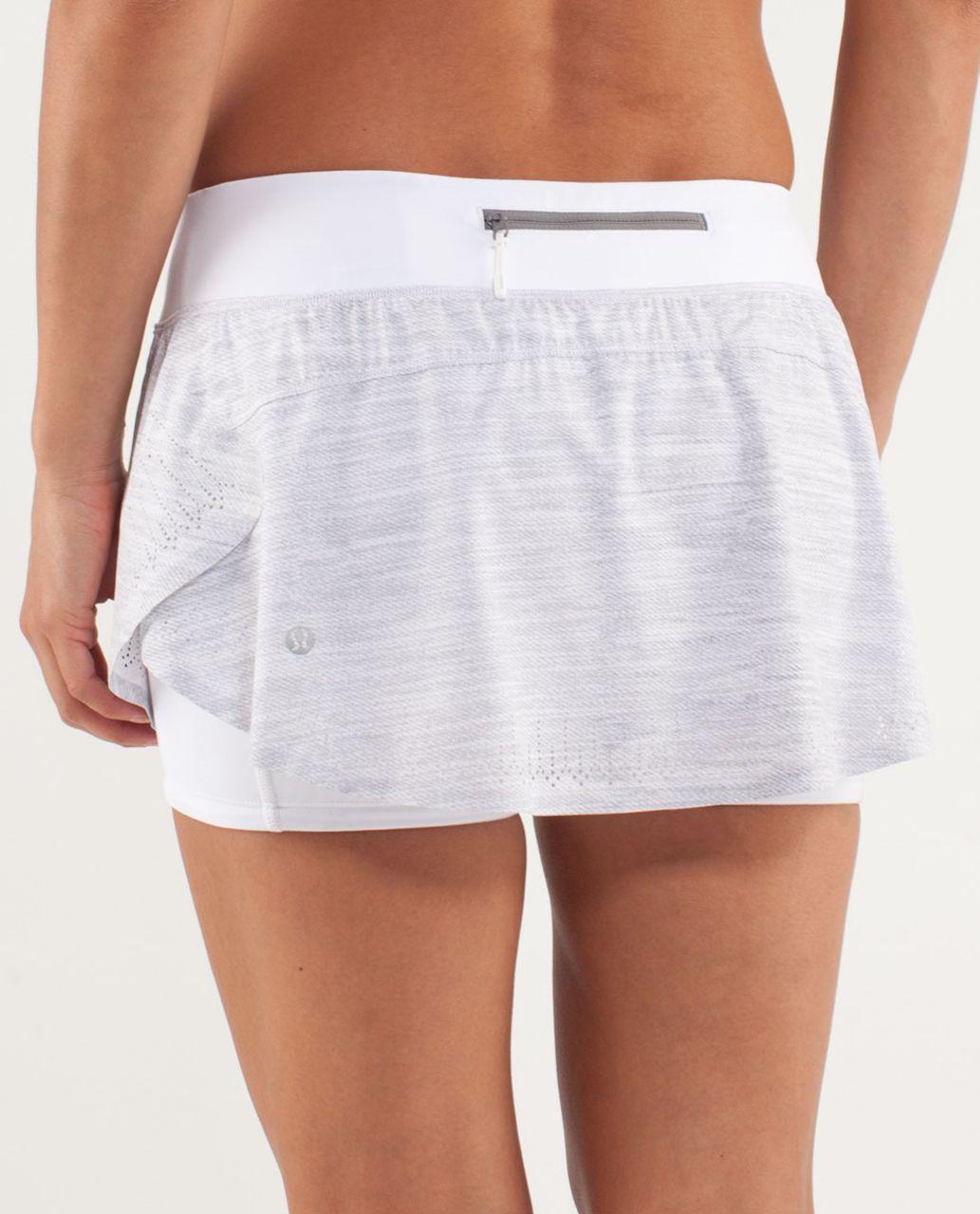 Lululemon Run:  Light As Air Skirt - Commuter Denim White / Fossil / White