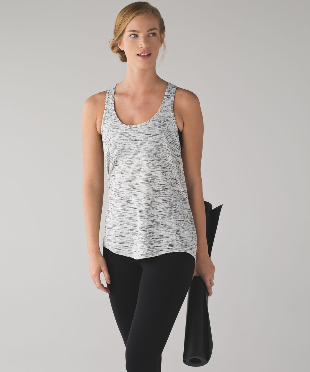 Lululemon Salute the Sun Singlet II - Tiger Space Dye Black White