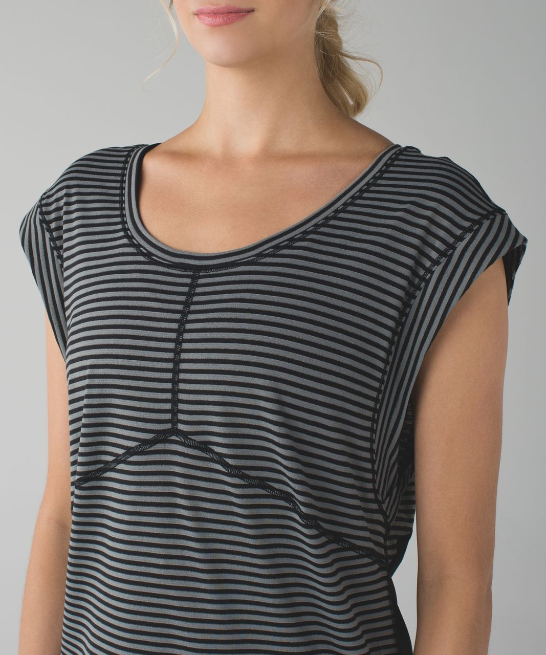Lululemon Get Sweat Tee - Silver Stripe Black Slate / Black