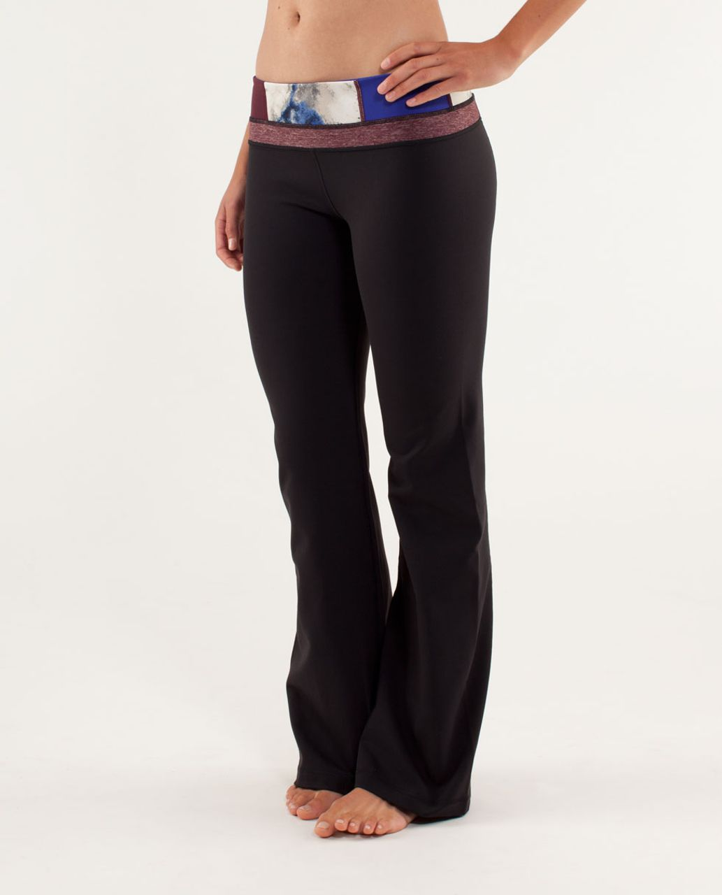 Lululemon Groove Pant (Regular) - Black / Fall 12 Quilt 8 / Heathered Bordeaux Drama