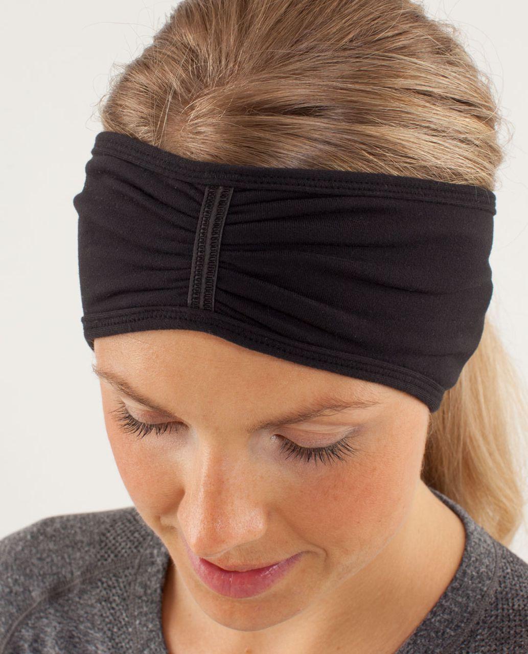 Lululemon Brisk Run Headband - Black / Tonka Stripe Cashew / Heathered Black