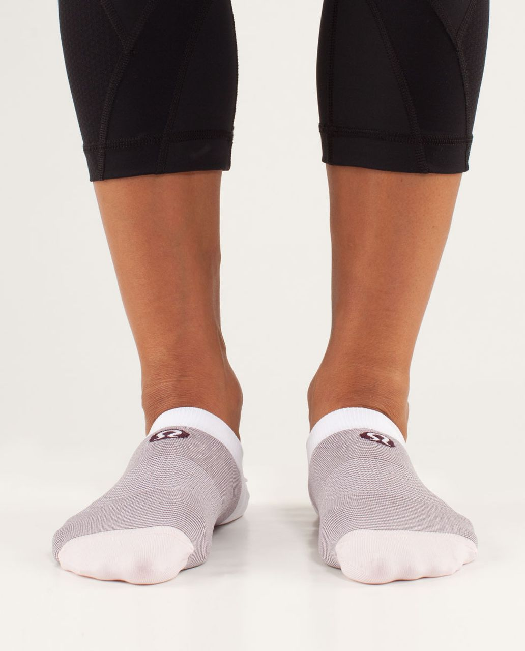 Lululemon Women's Featherweight Sock - Feeder Stripe Pretty Pink / Bordeaux Drama / White