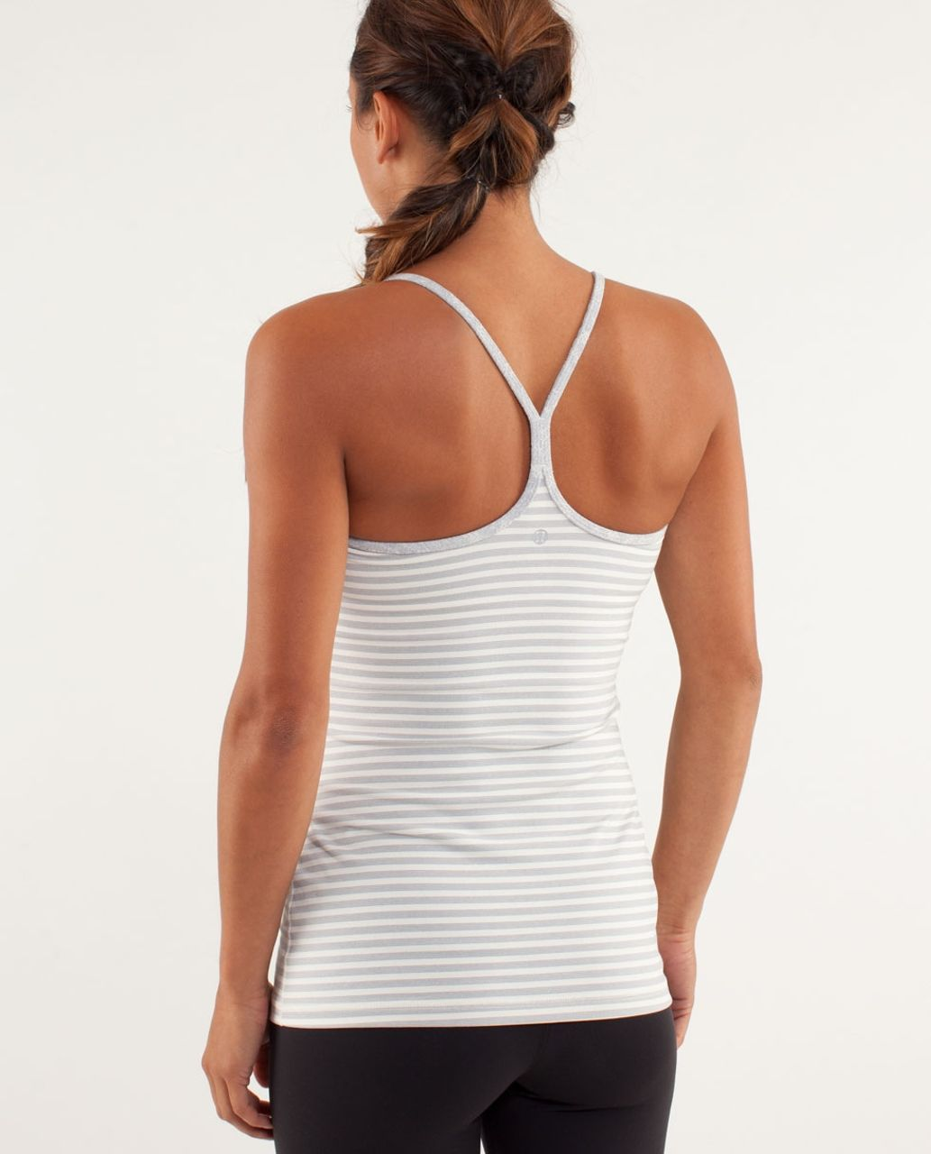 Lululemon Power Y Tank *Luon Light - Half Micro Macro Stripe Polar Cream Heathered Silver Slate / Rose Herringbone Polar Cream
