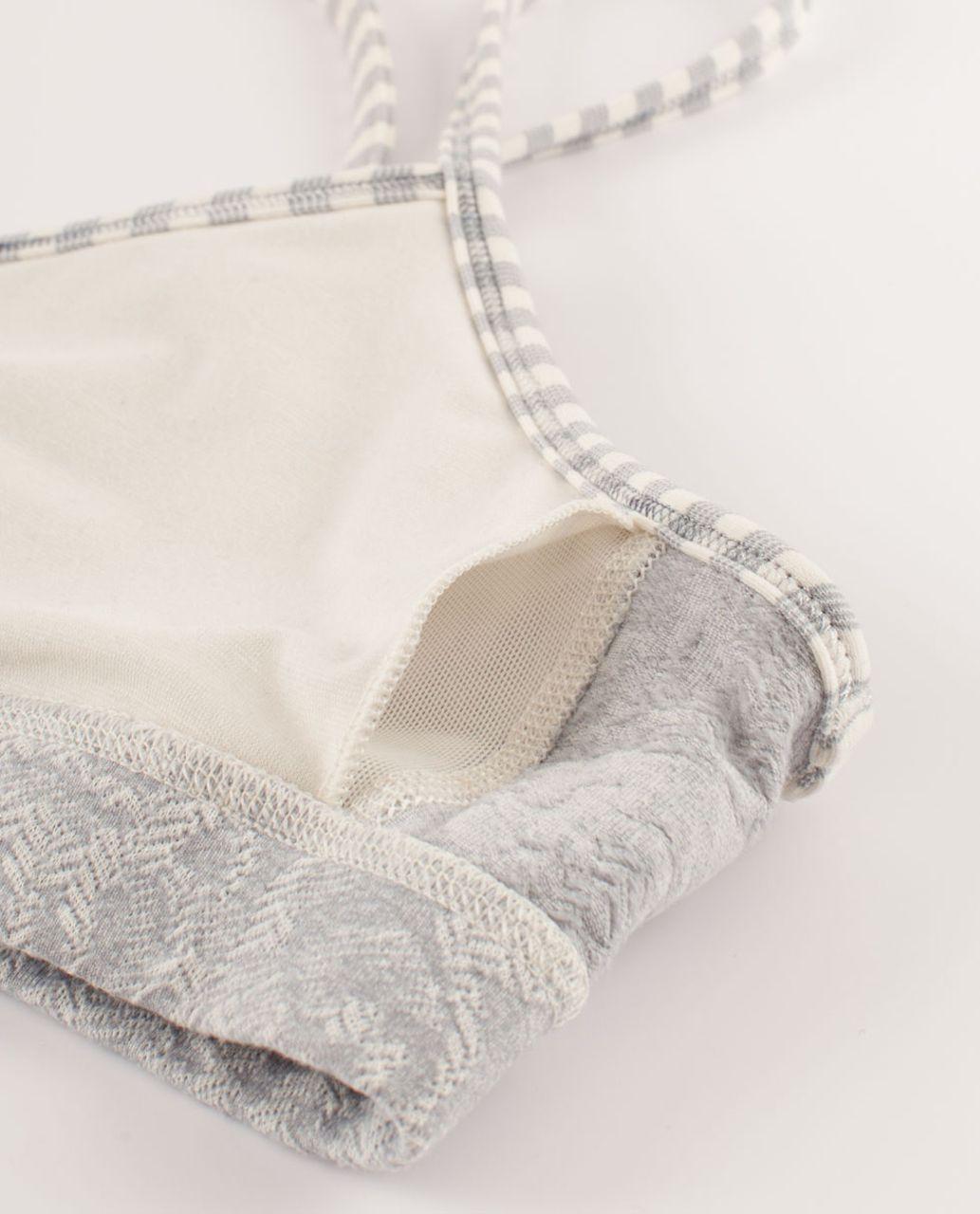 Lululemon Flow Y Bra IV - Rose Herringbone Polar Cream / Half Micro Macro Stripe Polar Cream Heathered Silver Sl