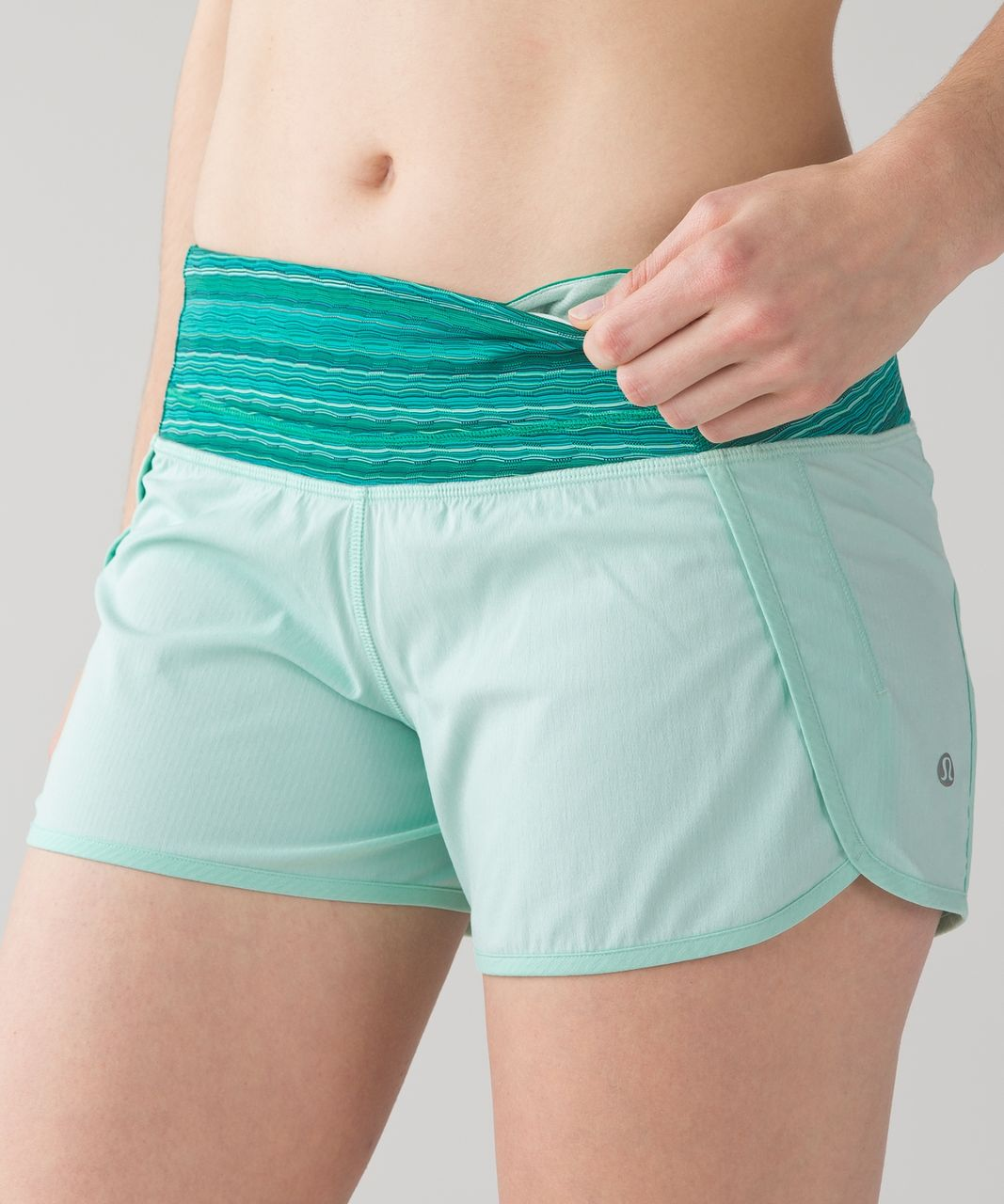 Lululemon Run Times Short - Sea Mist / Wave Twist Jungle Hero Blue