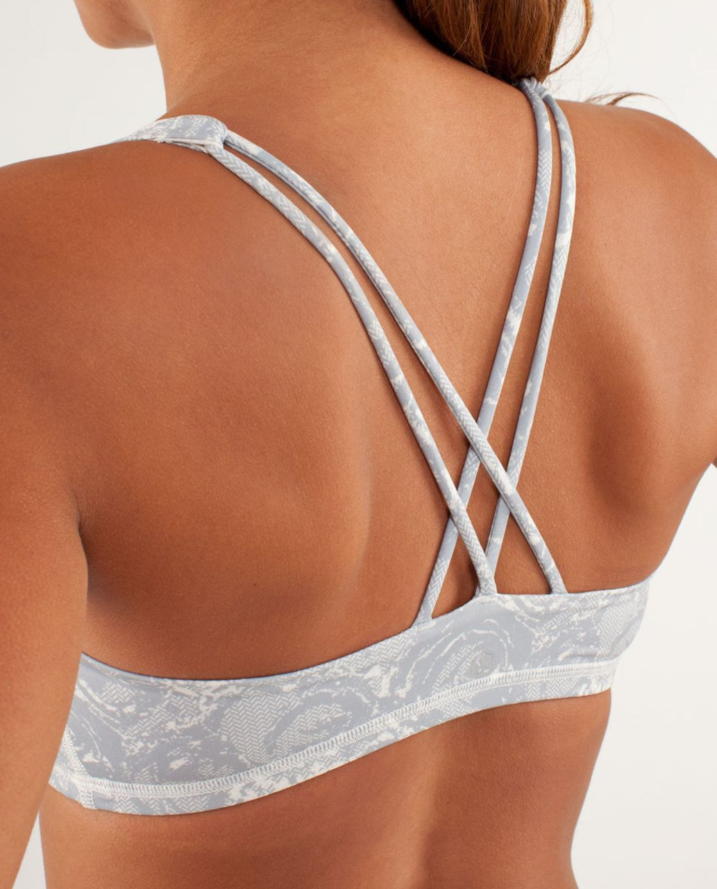 Lululemon Free To Be Bra - Rose Herringbone Printed Polar Cream Silver Slate