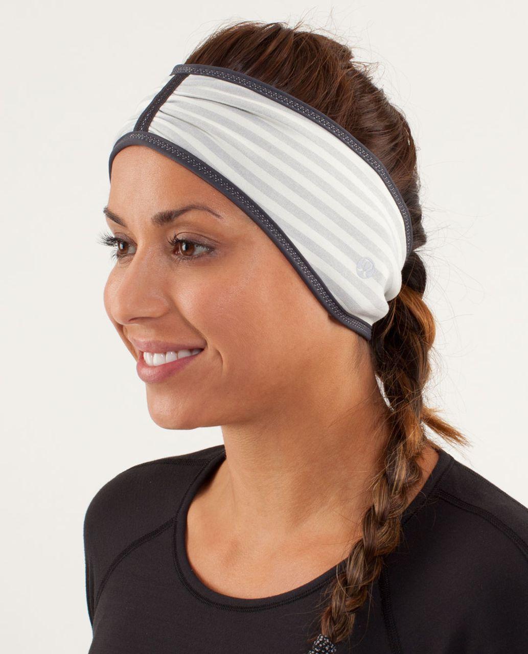 Lululemon Brisk Run Headband - Macro Micro Stripe Polar Cream H. Silver Slate / Heathered Coal