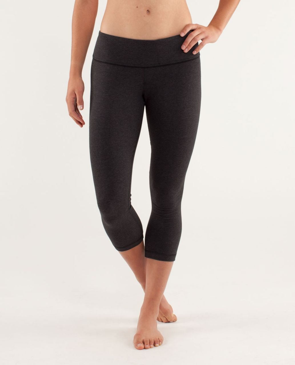 Lululemon Wunder Under Crop - Heathered Black / Black / Micro Macro Black Heathered Black