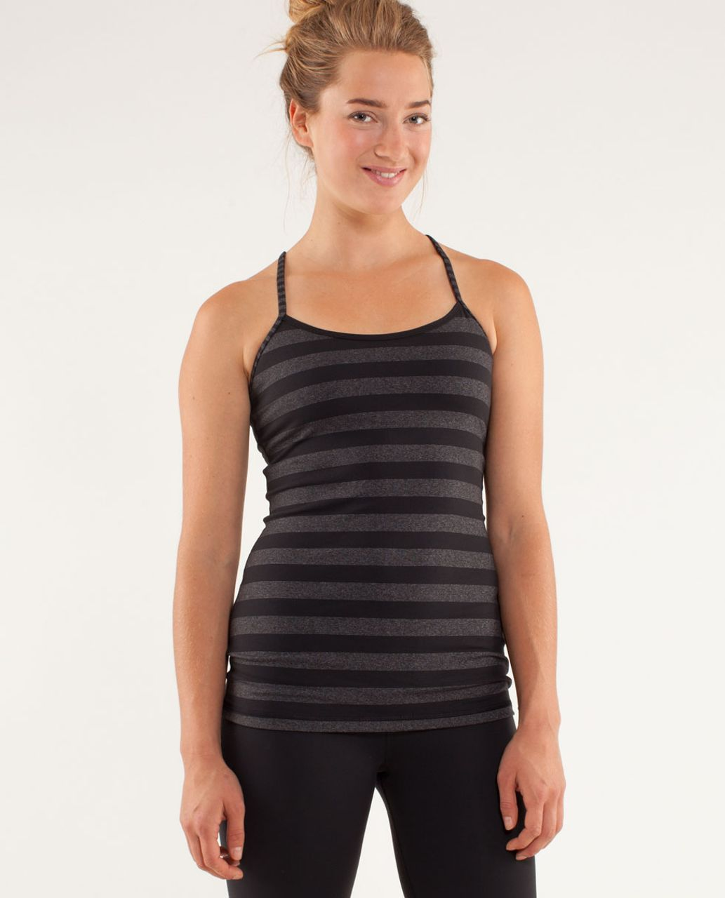 Lululemon Power Y Tank *Luon Light - Micro Macro Black Heathered Black / Black