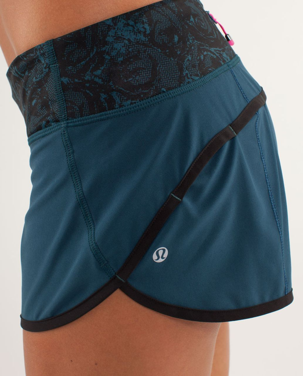 Lululemon Run:  Speed Short - Alberta Lake / Black / Rose Herringbone Printed Alberta Lake Black