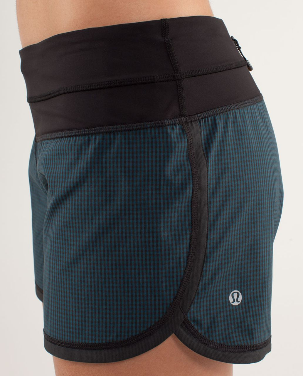 Lululemon Groovy Run Short - Eighth Gingham Alberta Lake Black  / Black