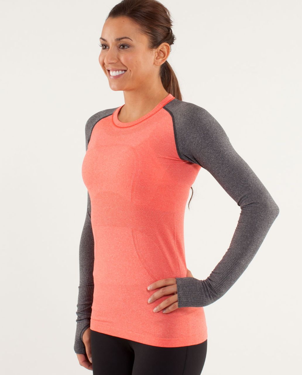 Lululemon Run:  Swiftly Tech Long Sleeve - Love Red / Deep Coal