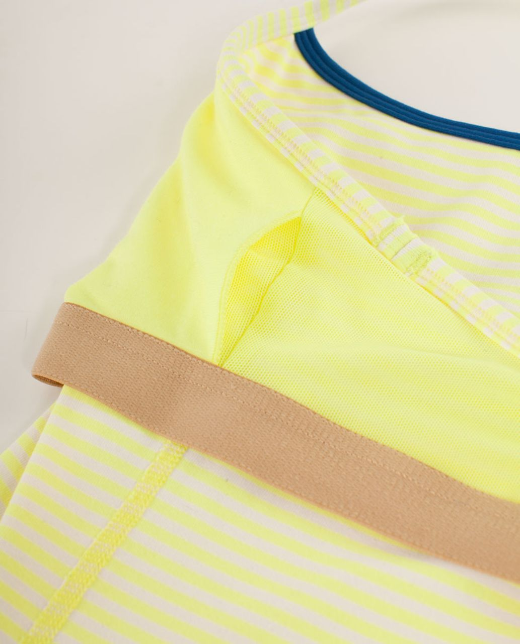 Lululemon Power Y Tank *Luon Light - Slope Stripe Polar Cream Clarity Yellow / Limitless Blue