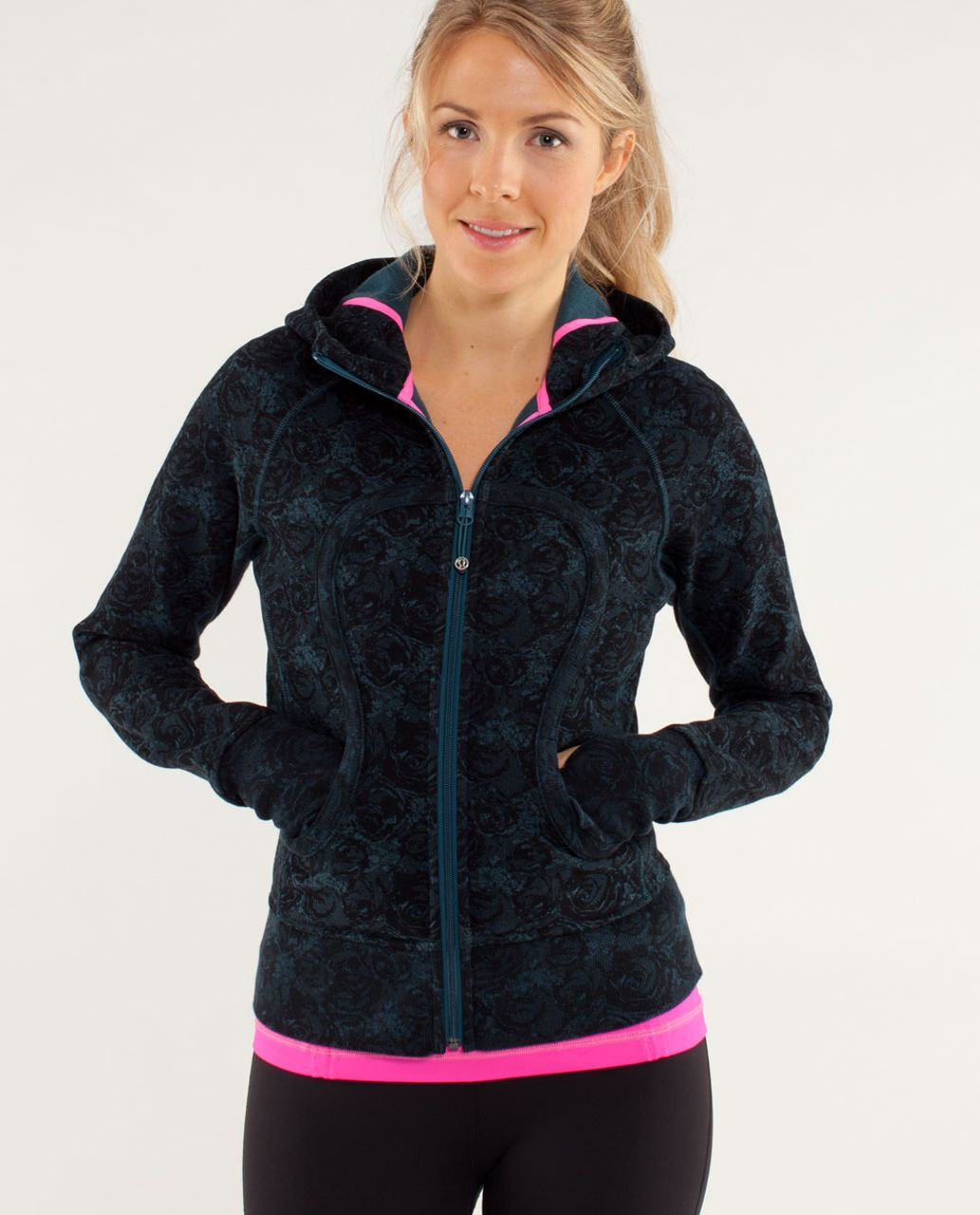 Lululemon Scuba Hoodie *Stretch - Rose Herringbone Printed Alberta Lake Black