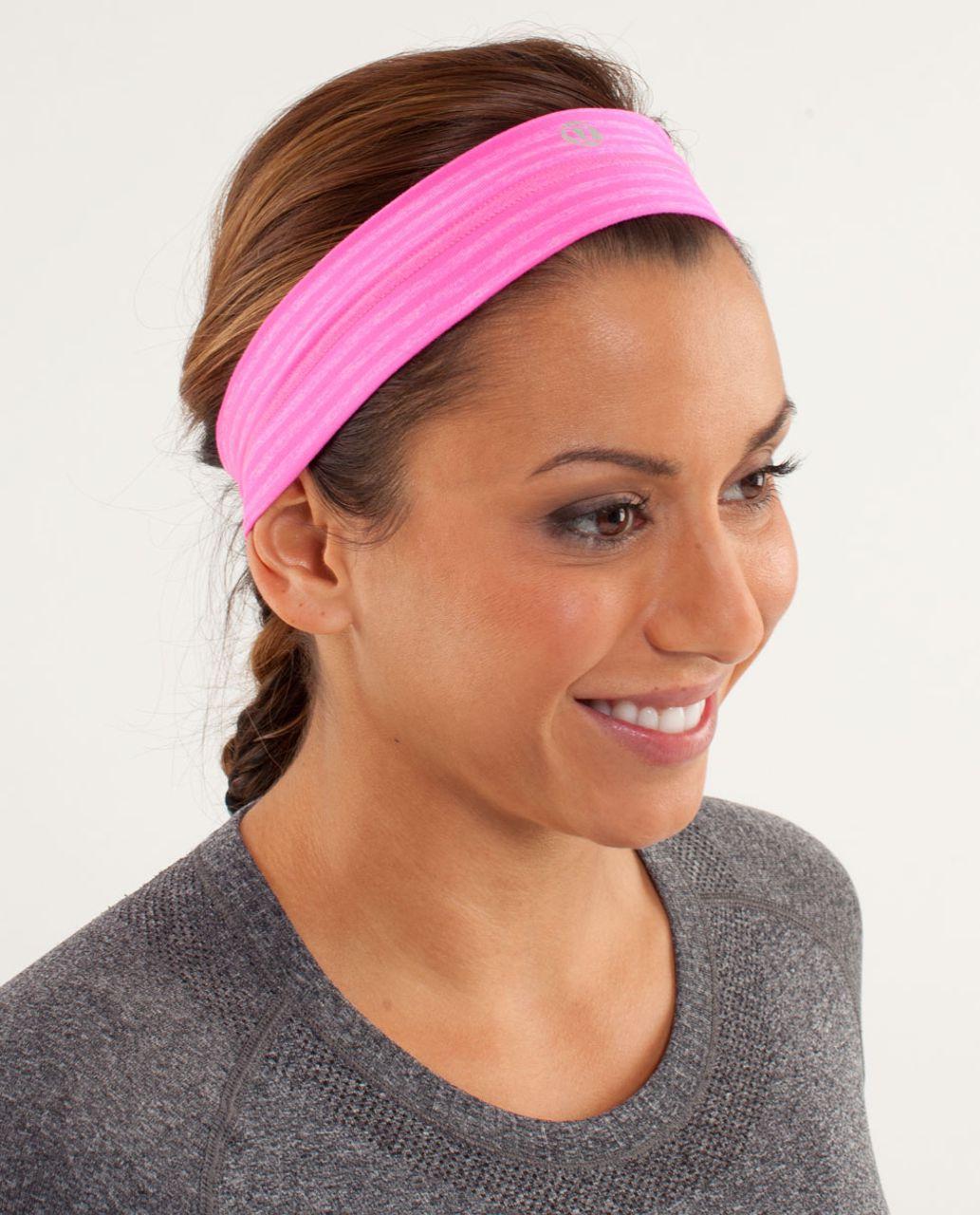 Lululemon Fly Away Tamer Headband - Slope Stripe Raspberry Glo Light Heathered Raspberry Glo Light / Black Swan