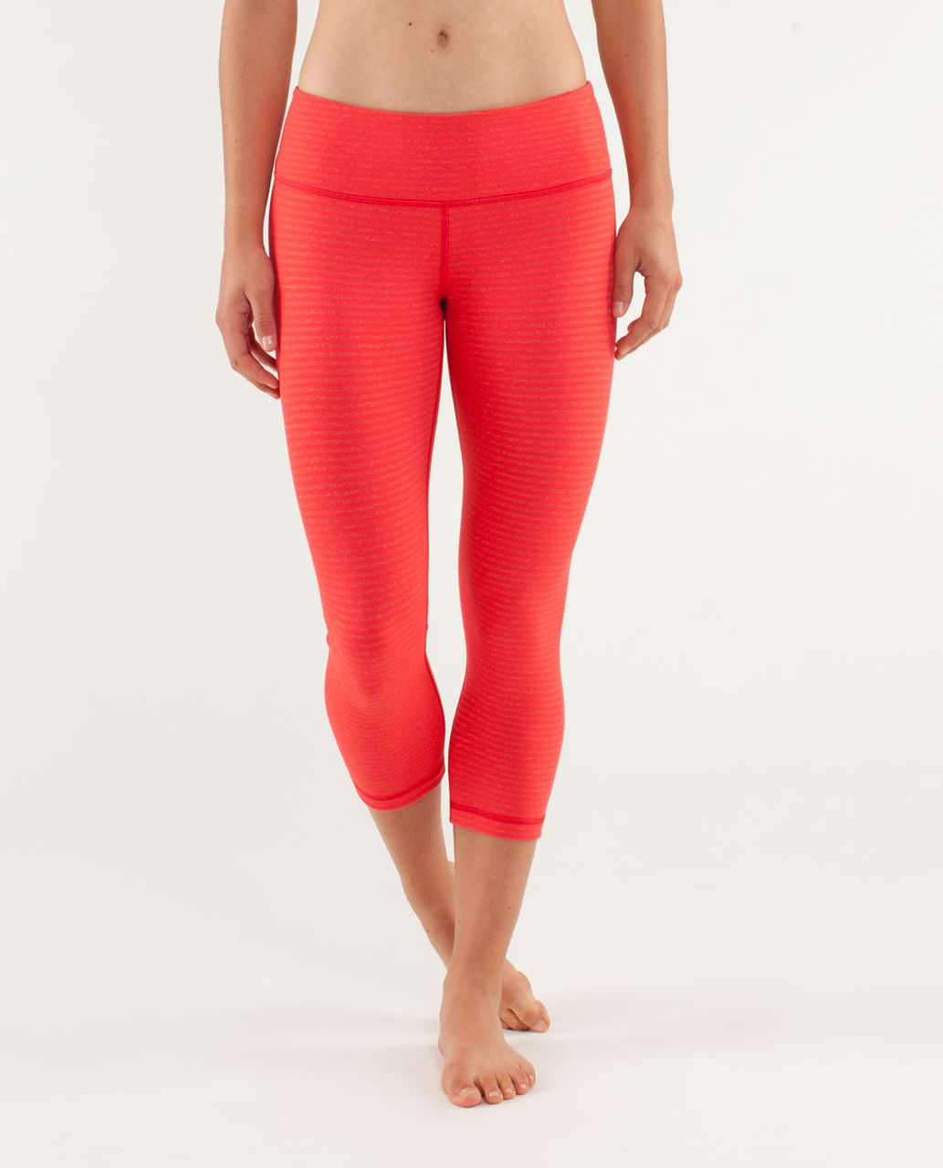 Lululemon Wunder Under Crop - Slope Stripe Love Red Heathered Fiery Red / Fiery Red / Love Red