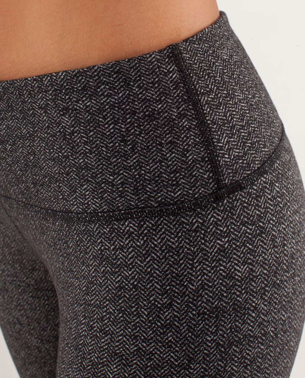 Lululemon Wunder Under Crop - Herringbone Black / Black